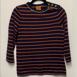 EUC Tory Burch Striped Button Neck Sweater sz S